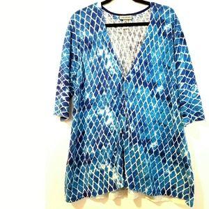 14/16W Catherine's Plus Size Blue Cotton Cardigan